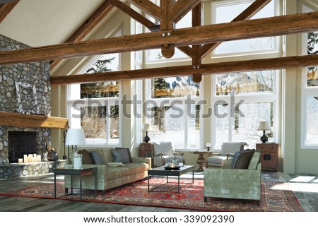 Luxurious open floor cabin interior family room  design with candle lit stone fireplace and winter scenic background. Photo realistic 3d rendering - stock photo