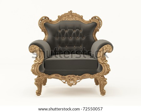 Luxurious pattern armchair with bronze frame isolated on white background