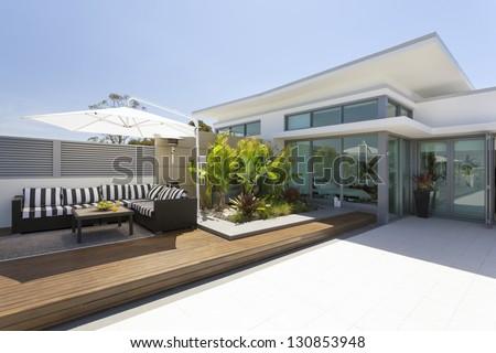 Luxurious penthouse balcony - stock photo