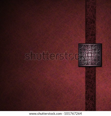 luxurious red background with elegant embossed seal, old vintage grunge background texture, formal graphic art layout design for brochure ad, black ribbon stripe, abstract luxury background in pink - stock photo