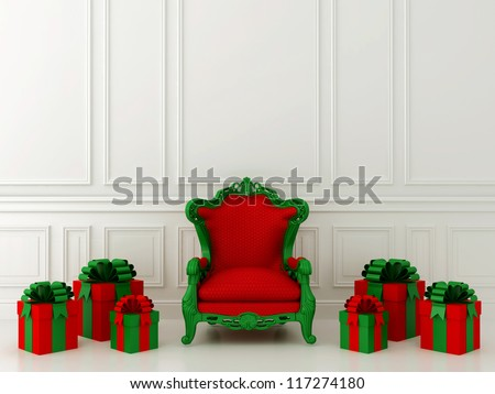 Luxurious red chair Santa Claus and gifts around - stock photo