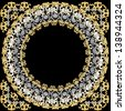 Luxurious round frame with gold and silver. Raster copy of vector image - stock photo