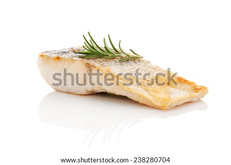 Luxurious seafood dinner. Perch fish fillet isolated on white background with fresh green herbs. Healthy eating. - stock photo