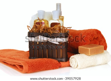 Luxurious skin and haircare products with soft towels and soap