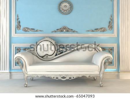 Luxurious sofa in blue royal interior - stock photo