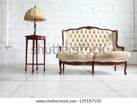Luxurious sofa in vintage room - stock photo