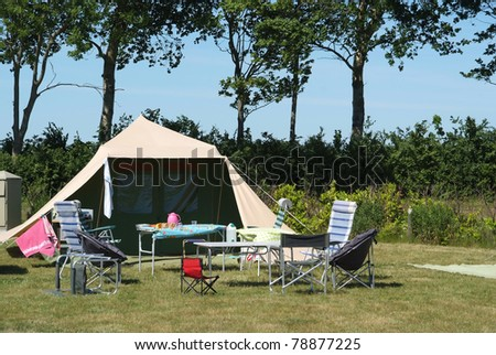 Luxurious tent on a camp site - stock photo
