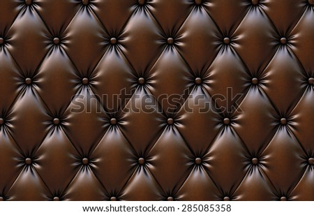 luxurious texture of chocolate-colored leather upholstery. - stock photo
