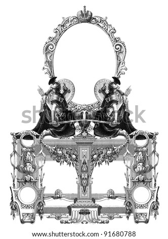 Luxurious Victorian frame, with a gladiator.