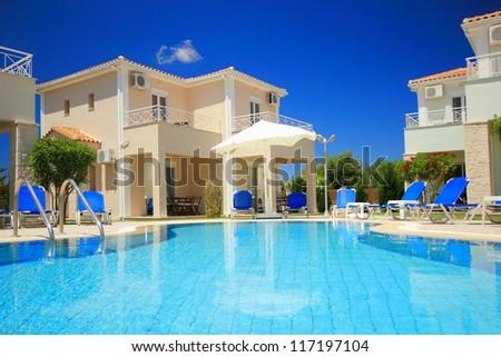 Luxurious villas resort in Greece - stock photo