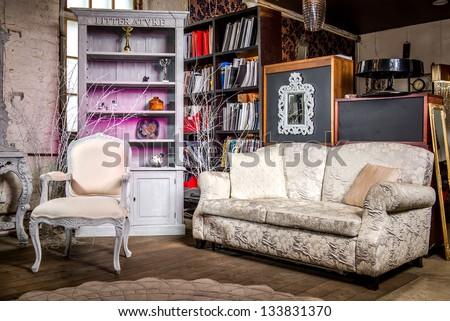 Luxurious vintage interior of sitting-room - stock photo