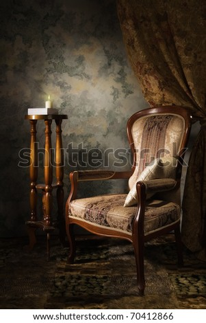 Luxurious vintage interior with armchair in the aristocratic style - stock photo