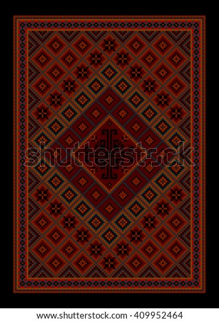 Luxurious vintage oriental carpet with colored ornament inmaroon and red shades  - stock photo
