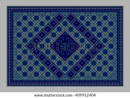 Luxurious vintage oriental carpet with ornament of blue shades - stock photo