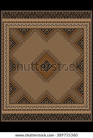 Luxurious vintage oriental rug with ethnic pattern with brown and yellow shades   - stock photo