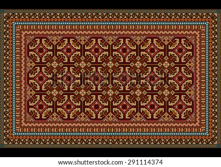 luxurious vintage oriental rug with original ornament in red and maroon hues - stock photo