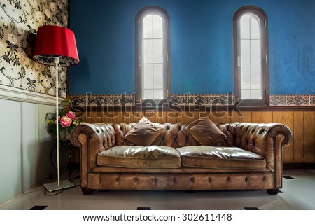 Luxurious Vintage Sofa decorate in Arabian Classic Theme - stock photo