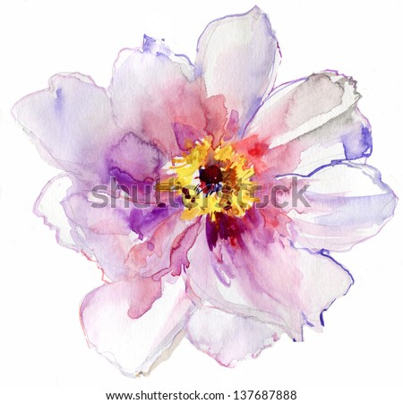 Luxurious white peony flower painted in pastel colors. painting - stock photo