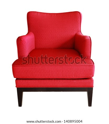 Luxurious wood frame armchair with red fabric seat isolated with work path.