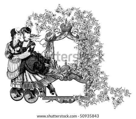 Luxuriously illustrated old victorian frame with two woman  on roller skates.