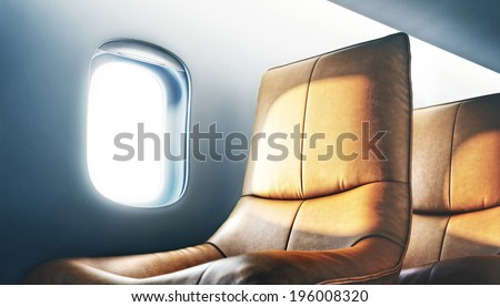 luxury airplane interior - stock photo