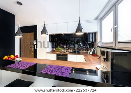 Luxury and clean empty european kitchen - stock photo