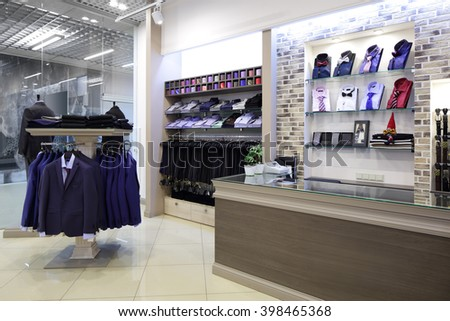 luxury and fashionable brand new interior of cloth store