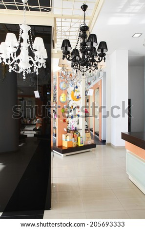 luxury and fashionable brand new interior of lightnings store