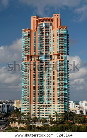 Luxury and modern high rise building - stock photo