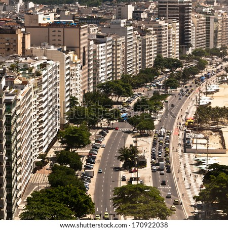 Luxury Apartment and Hotel Buildings in the Front of the Copacabana Beach, Rio de Janeiro, Brazil - stock photo
