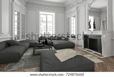 Luxury Apartment Living Room Interior With Classical Wall Moldings Mirror Fireplace And Upholstered Grey