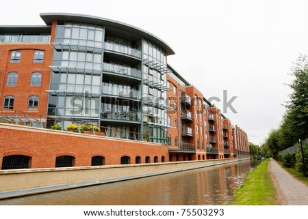 Luxury apartments on the canal Jericho. Oxford, England - stock photo
