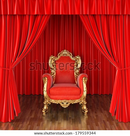 luxury armchair on stage with red curtains. - stock photo
