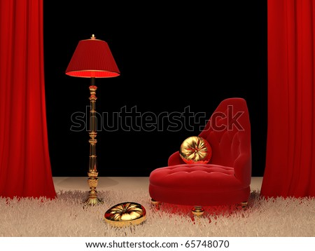 Luxury armchair with  standard lamp in Interior - stock photo