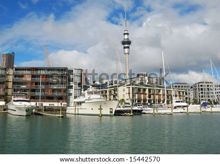 luxury at Auckland harbor - stock photo