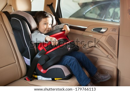 Luxury baby car seat for safety with happy kid say
