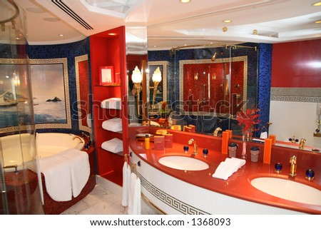 Luxury bathroom at hote - stock photo