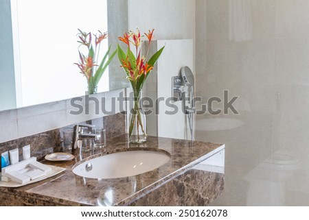 luxury bathroom in a hotel - stock photo