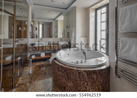 Luxury Bathroom Interior And Jacuzzi Style Bath