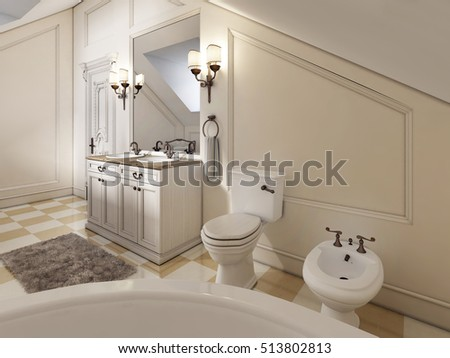 Luxury bathroom on the attic floor in the style of Provence. Sink bath and toilet with large mirror and bidet with the toilet. 3D render.