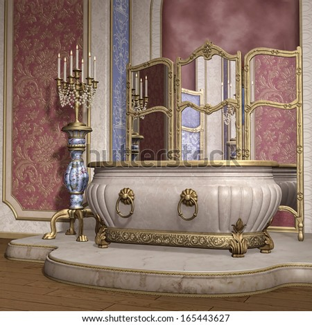 Luxury bathroom with a candelabra and big mirror