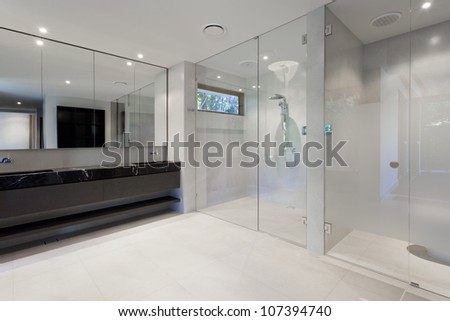 Luxury bathroom with mirrors, sink, shower and toilet - stock photo