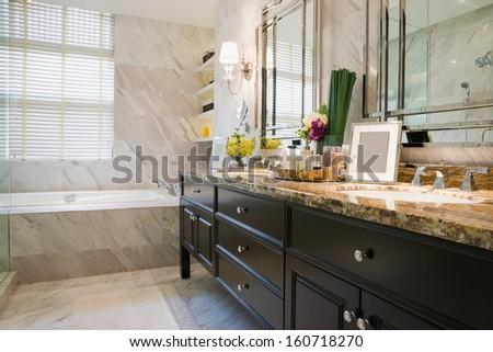 luxury bathroom with nice decoration - stock photo