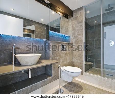 luxury bathroom with stone hand wash basin - stock photo
