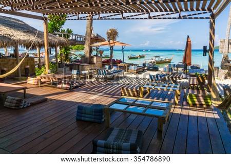 Luxury beach bar resort at tropical island, Lipe, Thailand - stock photo
