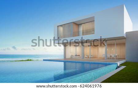 Luxury beach house sea view swimming stock illustration for Beach house view