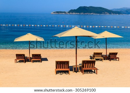 Luxury beach  Sveti Stefan, Montenegro,  Adriatic Sea - stock photo