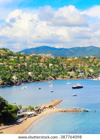 Luxury beach, yachts and boats. French Riviera, Azure Coast or Cote d Azur, Provence, France