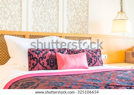 Decorative pillow natural fabric bed stock photo 280333400 for Beautiful bed decoration