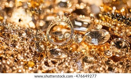 Luxury beautiful precious background of close up of golden jewelry